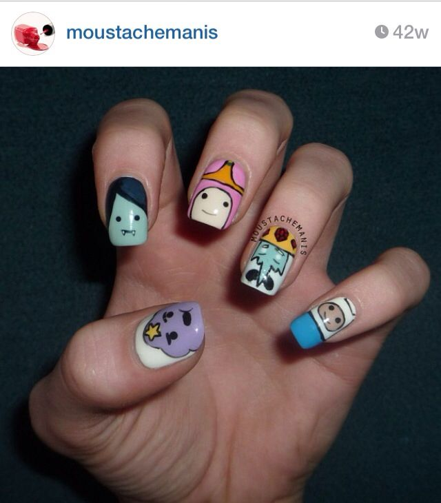 Adventure time nails: Adeventur Time, Nails Art, Adorable Nails, Nails