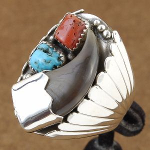 Indian Bear Claw Sleeping Beauty Turquoise Coral Sterling Silver Ring Size 10 to 15. What a work of art!
