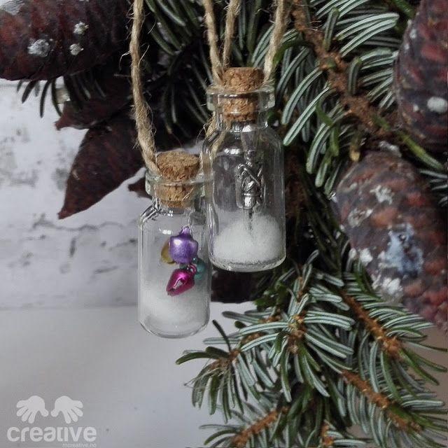 Juletrepynt (små glassflasker)