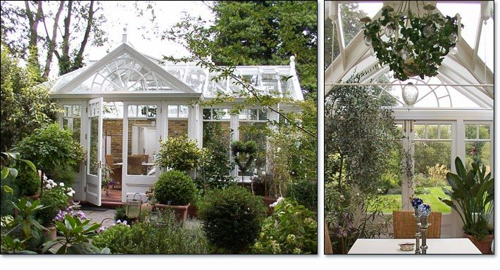 Designed for enjoyment of the garden this hardwood conservatory is a pleasure unto itself with a radial glazing pattern at the main entrance gable, which is offset from the center of the main elevation to allow better use of floor space