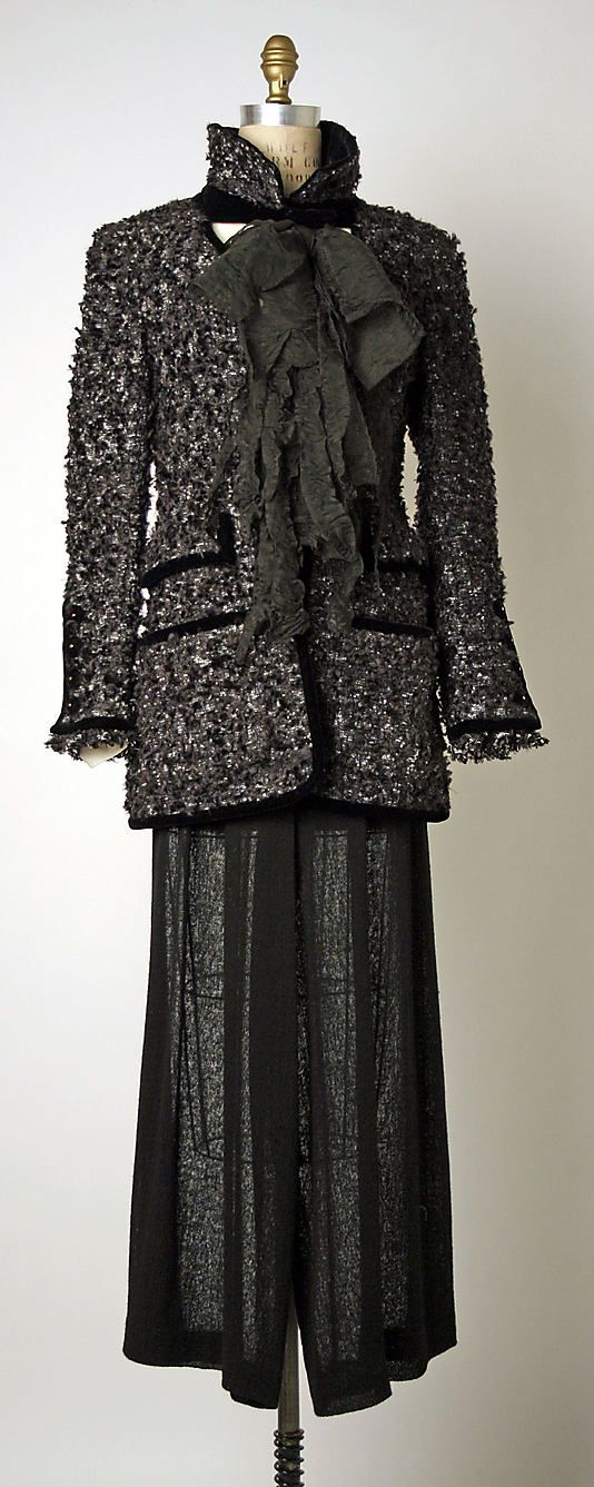 Suit  House of Chanel (French, founded 1913)  Designer: Karl Lagerfeld (French, born Hamburg, 1938) Date: spring/summer 1993 Culture: French Medium: (a, d) wool; (b) silk; (c) cotton