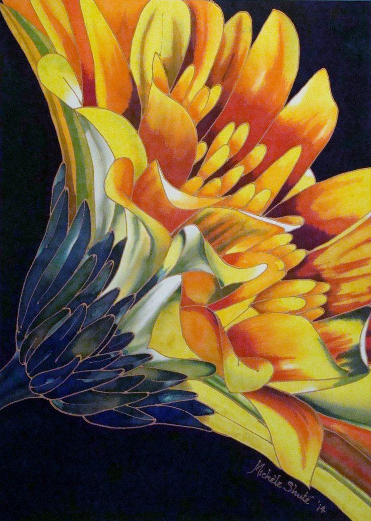 Flower (Gerbera) painted on silk. 2014. Michele Shute