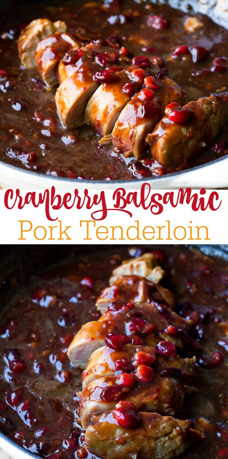 Cranberry Balsamic Pork Tenderloin Recipe - turn leftover cranberries into this sweet and tangy dinner! #ad