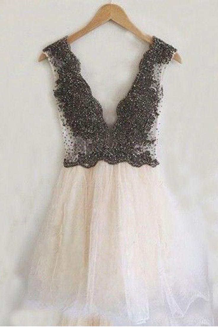 2016 homecoming dress,sexy homecoming dress,white homecoming dress,sparkling homecoming dress,deep v-neck homecoming dress