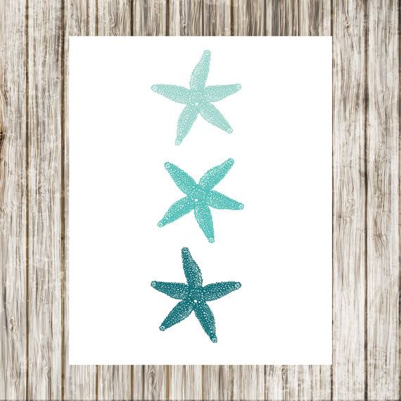 Three Starfish in Teal  Sealife  Wall Art Poster by paper4download