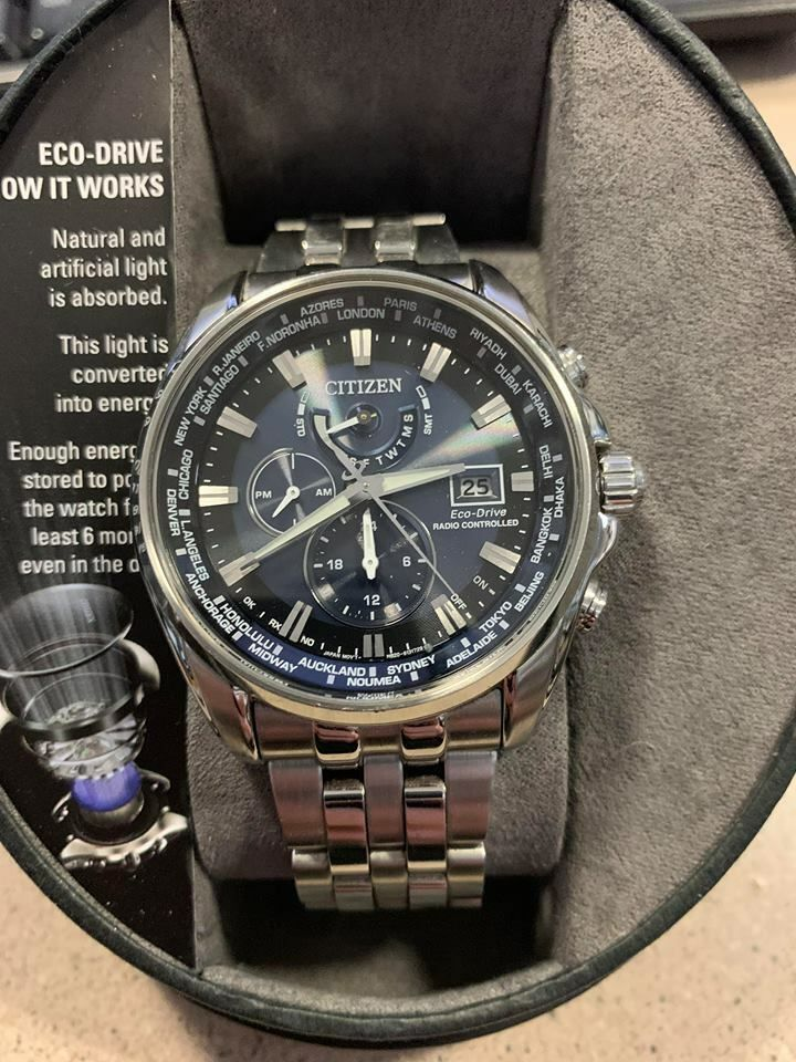 Citizen Eco Drive Men S At9070 51l World Time Blue Dial Silver Tone 44mm Watch Https Uxshops Com Buy Citizen Eco Drive M Stuff To Buy Citizen Eco Silver Tone