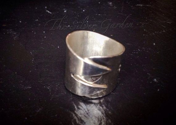 Solid Silver Chip Fork Ring, Silver Fork Ring, Upcycled Jewellery, Spoon Jewellery, Antique Silverware Ring, Gift, Eco Friendly, Mens Ring