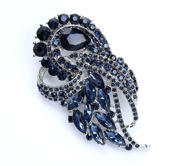 Midnight Blue Wedding Brooch Embellishment Bridal Bridesmaid Dress Sash Crystal Navy Blue Brooches Decor DIY Jewelry Crafts Dark Blue Broach