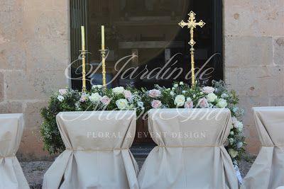 Weddings in Spain. Detalle de decoración de altar. www.eljardindemam... Facebook: www.facebook.com/... Blog: eljardindemamaana