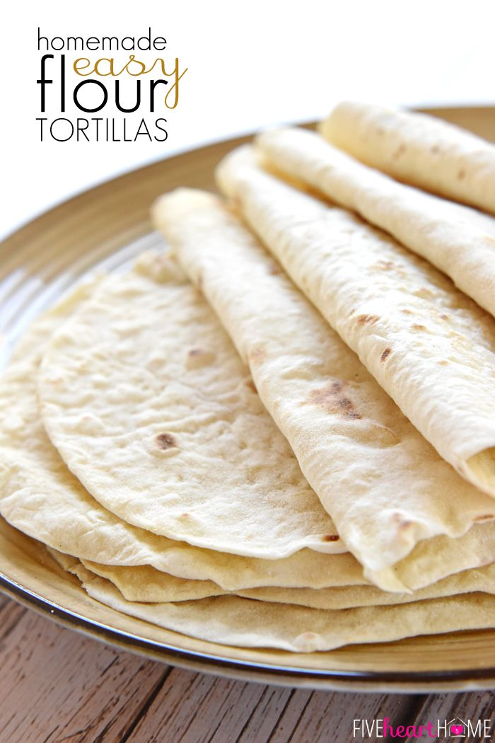 Easy Homemade Flour Tortillas ~ soft and tender homemade tortillas are deliciously versatile and surprisingly easy to make with just a few simple ingredients!   FiveHeartHome.com