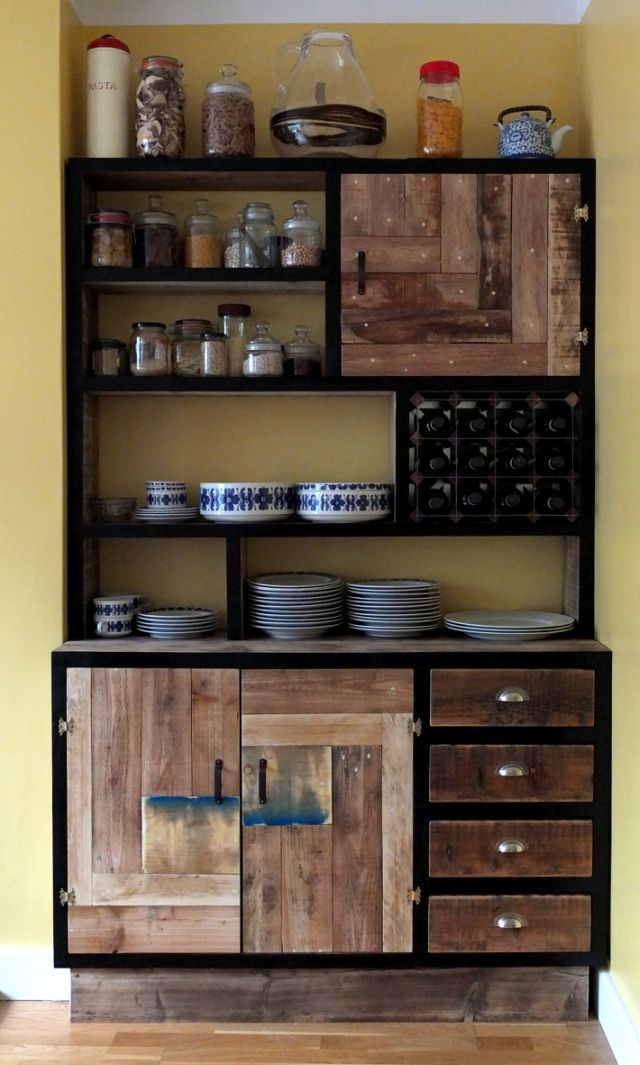 Kitchen storage made by ReliCreation- Designers and makers of bespoke furniture made from 100% recycled timber.