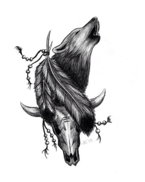 Tribal wolf tattoo without the cow head and a moon background would look so sick
