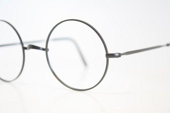 Vintage Eyeglasses Unused Black Windsor Style Frames John lennon Glasses Retro Eyeglass Frames 1980s 1990's vintage Round Glasses