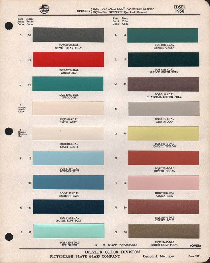 code r| dqe*7079dal|#paint chips 1958 edsel| looks similar to