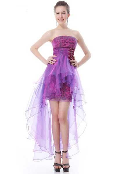 """High Low Layered Organza Dress NZD$89.99         A stunning ball dress with a gorgeous rhinestone decoration and a dramatic organza tail.      Features:   - Strapless design (includes hooks for detachable straps - straps not included)   - Padded bust for """"no bra"""" option   - Rhinestone and satin decoration at the waist   - Above-knee skirt with a floor-length tail   - Fully lined with satin   - 3 layers of iridescent violet / purple / blue organza tail   - Opens with hidden back zipper…"""