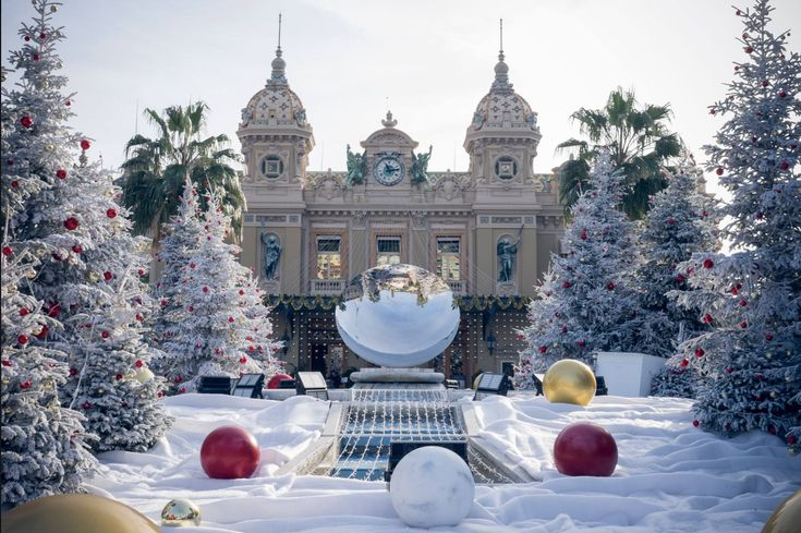 Monte Carlo Casino Back View At Christmas Christmas Tree