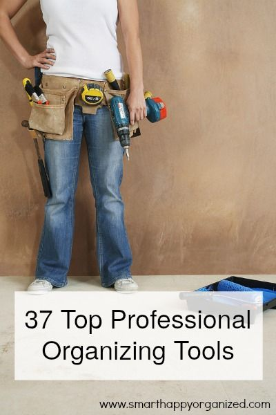 37 Top Professional Organizing Tools   http://smarthappyorganized.com  When I was just starting out as a professional organizer one of the things I was most excited about were all of the organizing tools we get to use. I wanted to make sure I was prepared for many different situations I may face going to client's homes. I started researching other professional organizers websites to see what they had in their tool kits.