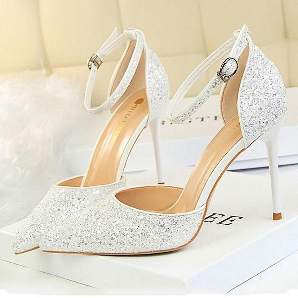 Stunning Glitter Bridal Court Shoe With Beautiful Ankle Strap Love A Sparkly Shoe For Underneath The Bridal Sparkly Wedding Shoes Bridal Shoes Wedding Shoes