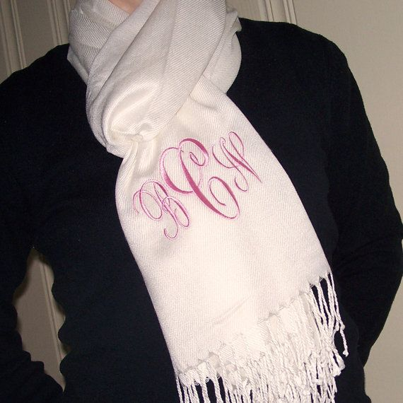 Monogrammed Pashmina Wrap  IVORY / CREAM by MissMonogram on Etsy, $24.00