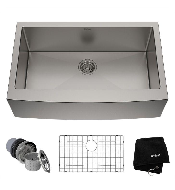 Kraus Khf200 33 32 7 8 Single Bowl Farmhouse Apron Front Stainless Steel Rectan Farmhouse Sink Kitchen Kitchen Sink Remodel Single Bowl Kitchen Sink