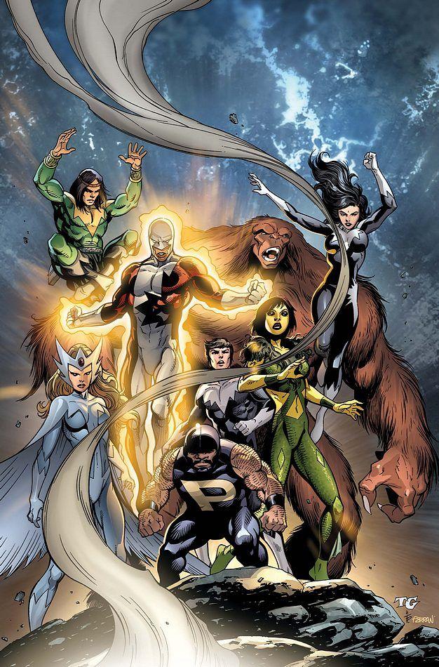 Alpha Flight: Guardian, Shaman, Sasquatch, Aurora, Snowbird, Northstar, and Marrina.