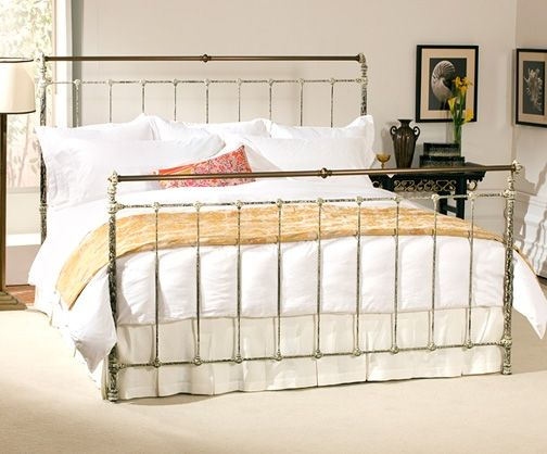 Iron & Brass Sleigh Bed - King Vintage White