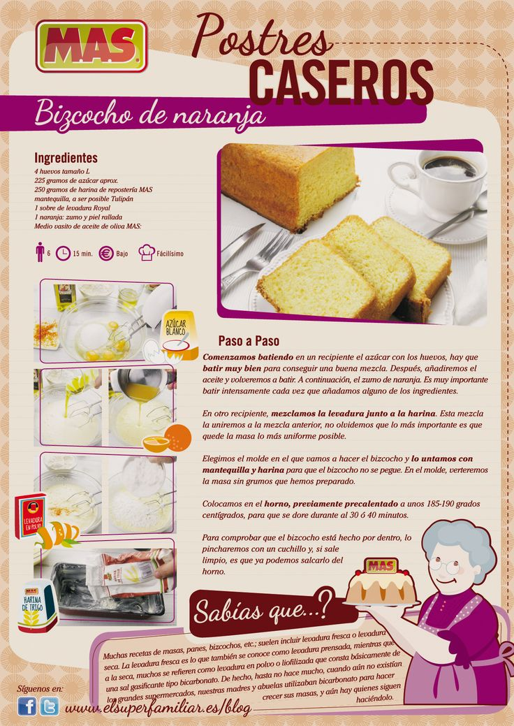 Receta De Bizcocho De Naranja | Supermercados MAS Blog