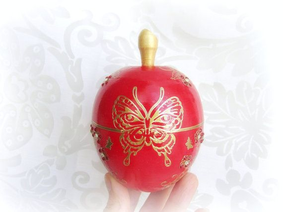 Ring bearer box red apple and gold buttefly wedding by GattyGatty