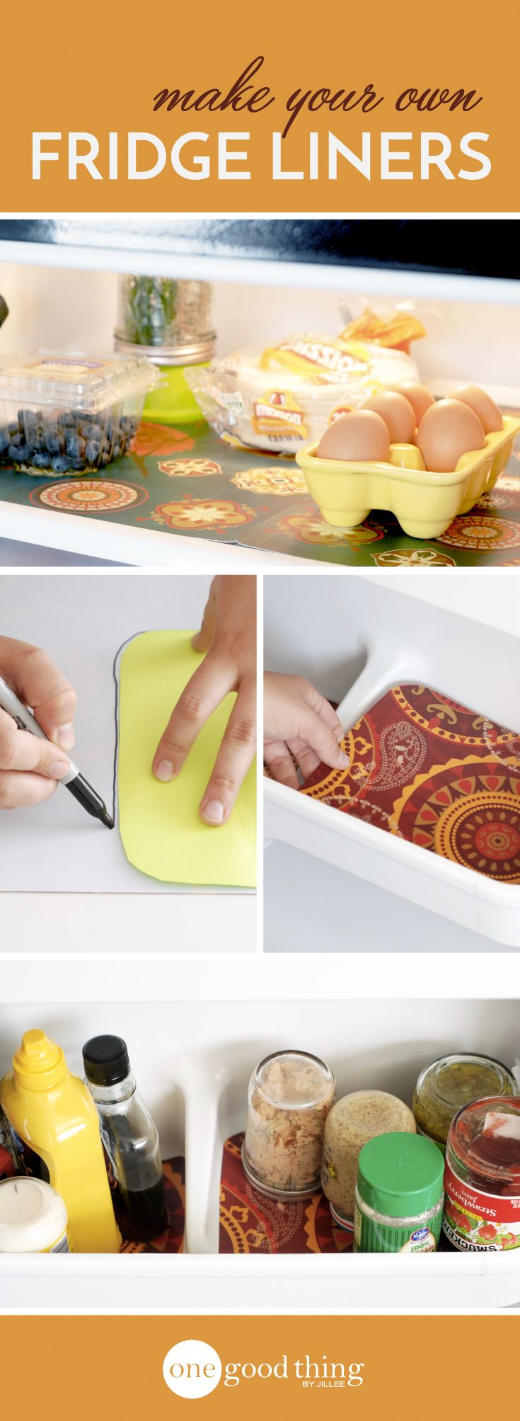 Keep your refrigerator clean and stylish with these DIY Fridge Liners!