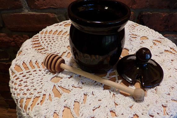 Old Time Pottery Honey Jar Brown Pottery Honey Jar Old Time