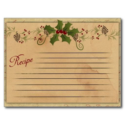 retro recipie card | Vintage Christmas Recipe Card Post Cards from Zazzle.com