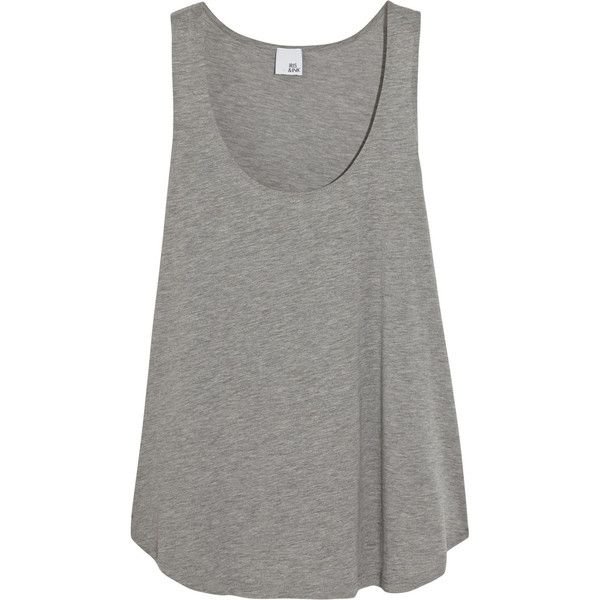 Iris and Ink Allie stretch-jersey tank (£21) ❤ liked on Polyvore featuring tops, tank tops, tanks, shirts, grey, loose tops, loose fit tank tops, grey tank top, gray tank top и cut loose shirt