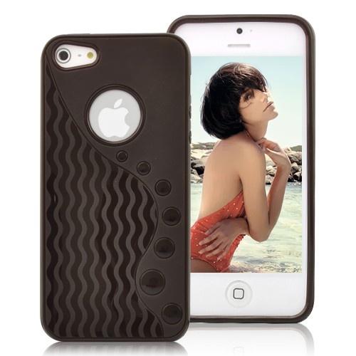 Stylish Wave-like Pattern Matte TPU Case For iPhone 5 - Black