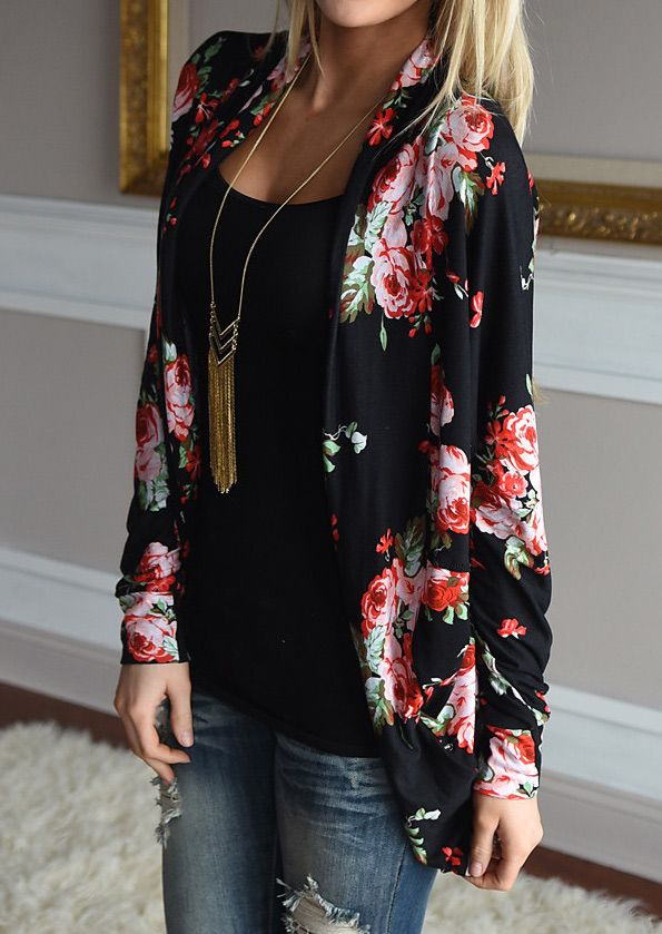 Floral Printed Cardigan Without Necklace - Fairyseason
