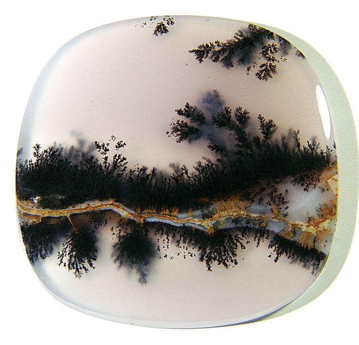 Translucent Dendritic Moss Agate cabochon BLACK DRAGON
