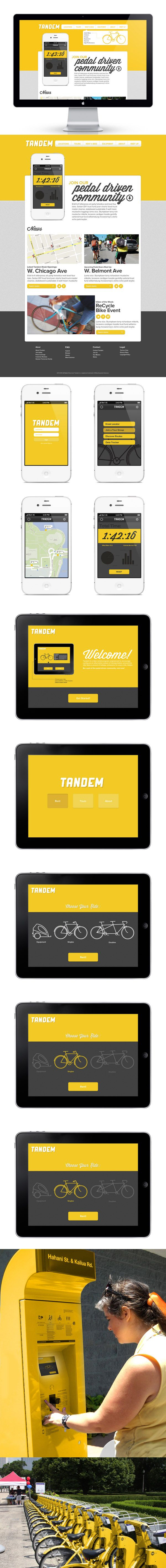 Tandem | A Bike Rental Service by Alex Garey, via Behance *** Rent it, ride it, return it. Save a pound of tailpipe emissions for every mile! Tandem offers an affordable, environmentally sustainable, and convenient form of transportation in the dense urban landscape.