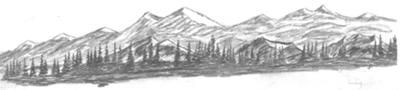 Landscaped: This is a drawing of a mountain range.  The sketch started as a simple mountain scene using the smaller mountain on the front left side with a few trees