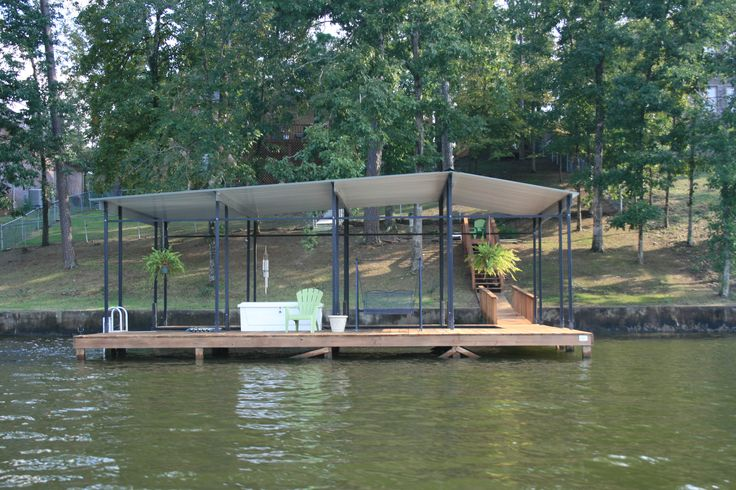 A More Affordable Stationary Dock Design With A Metal Roof