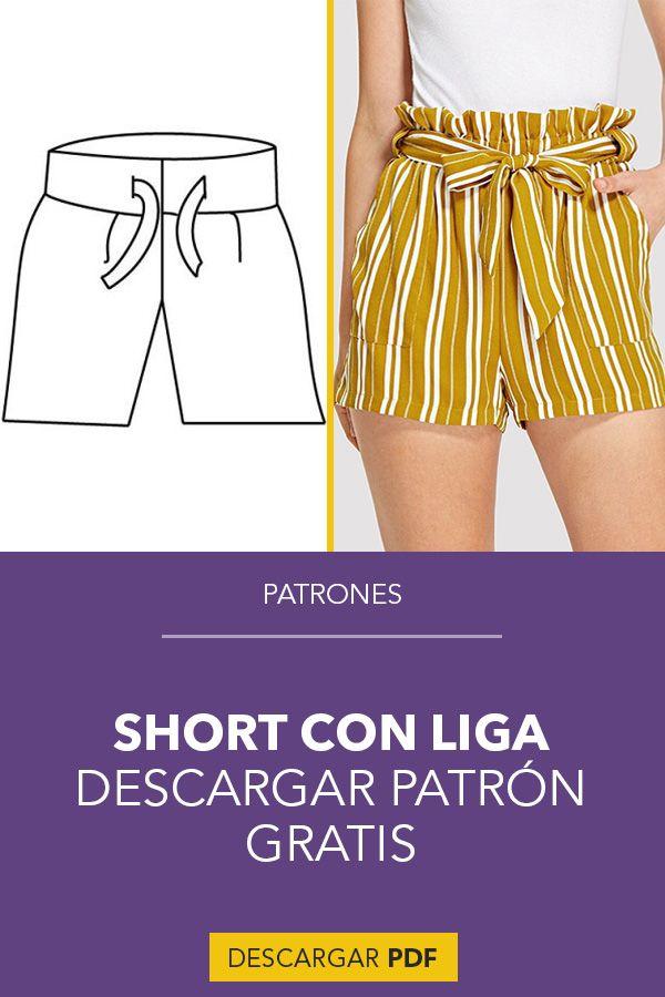 Patron Short Con Liga En Pdf Pantalones Cortos De Mujer Ropa Linda Para Mujer Patron De Pantalones
