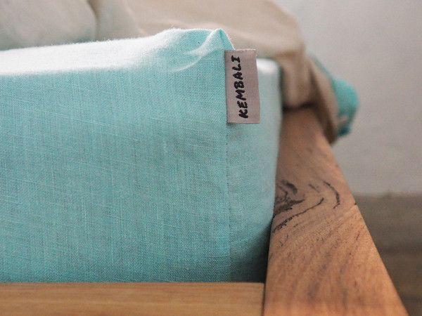 Aqua Linen Fitted Sheet - 100% French flax linen