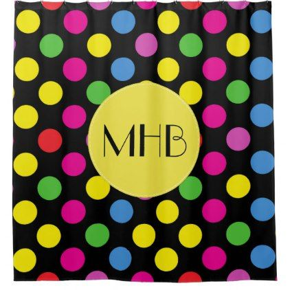Monogram - Polka Dotted Pattern - Pink Yellow Shower Curtain - shower curtains home decor custom idea personalize bathroom