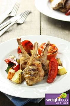 Healthy Lamb Recipes: BBQ Seeded Mustard Lamb Cutlets with Potato Medley. #HealthyRecipes #DietRecipes #WeightlossRecipes weightloss.com.au
