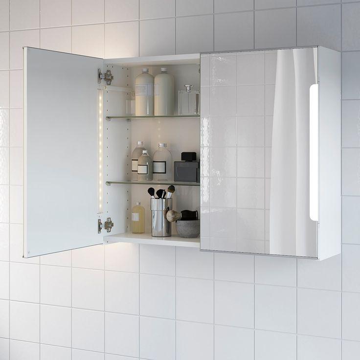 STORJORM Spiegelschrank m. 2 Türen+int. Bel. weiß in 2020   Badezimmer innenausstattung, Ikea ...