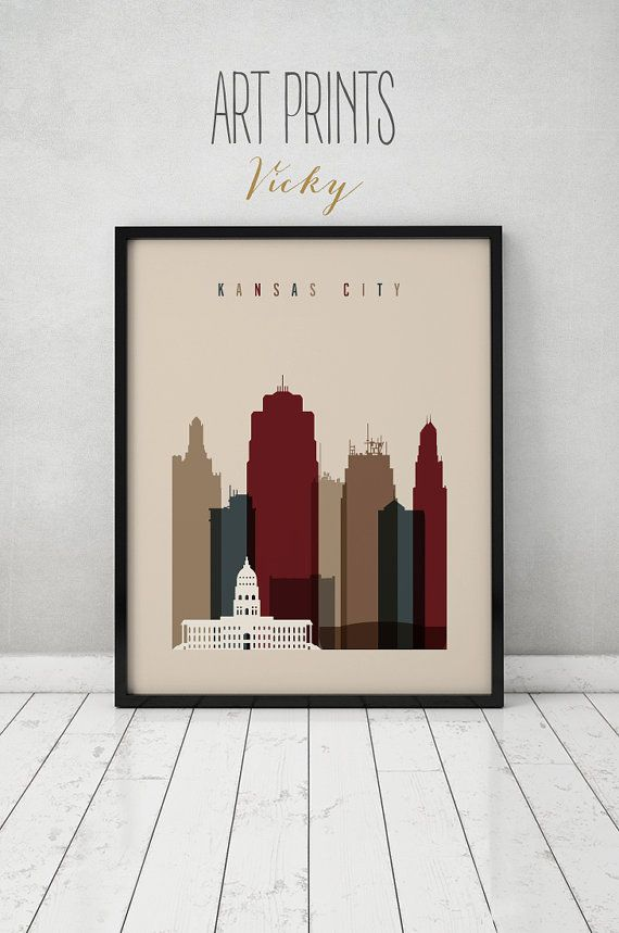 Kansas City print Poster Wall art Kansas by ArtPrintsVicky on Etsy & 100+ best CITY SKYLINES in EARTH COLOURS images by ArtPrintsVicky on ...