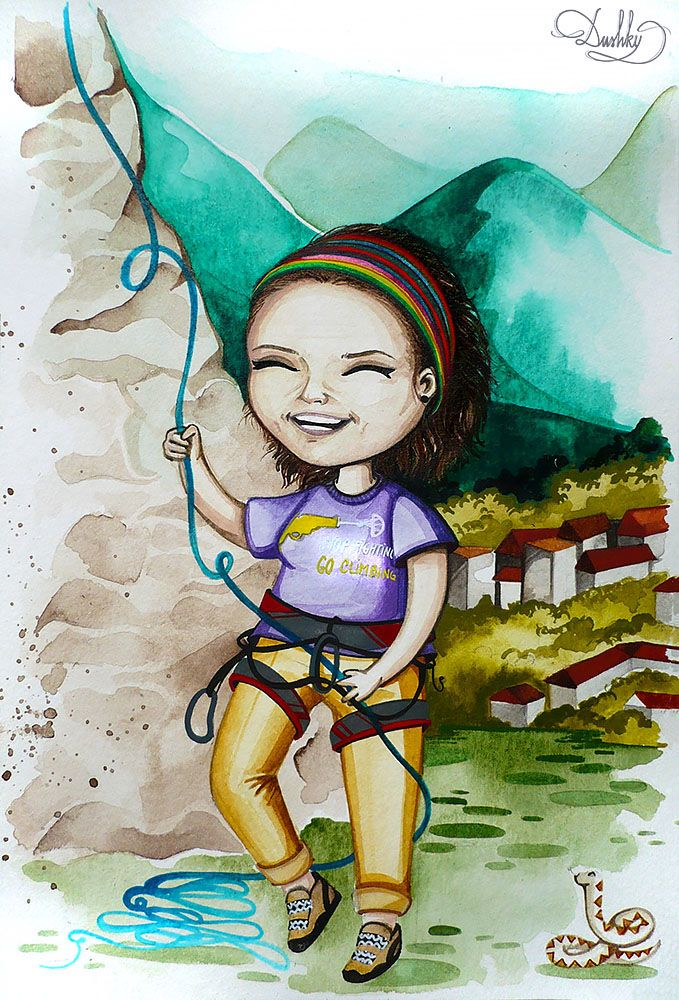 portrait by #dushky | #art #illustration #painting #watercolor #portrait #cute #bobblehead #girl #mountain #climbing #hiking