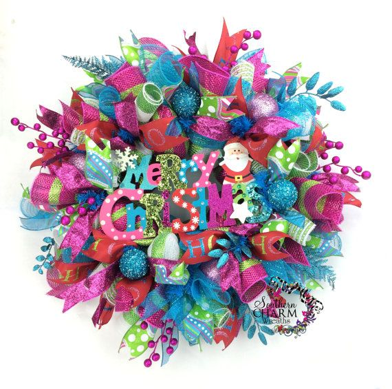 Deco Mesh Christmas Wreath in turquoise, hot pink & lime green with Merry Christmas sign by SouthernCharmWreaths
