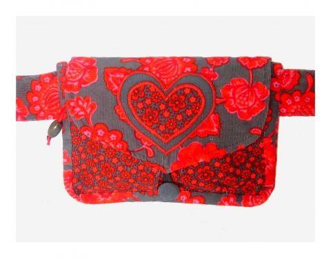 Cinorka - piros-szürkes kord övtáska szív motívummal, meska.hu #valentin #heart #belt #bag