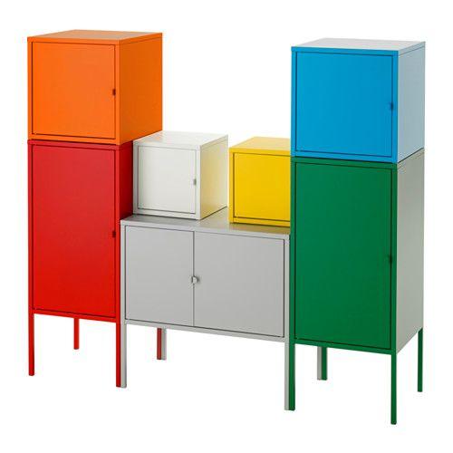 IKEA - LIXHULT, Förvaringskombination, , En färgstark färdig kombination där du kan förvara både stort och smått.Håll ordning på viktiga papper, brev och tidningar genom att fästa dem på insidan av skåpsdörren.