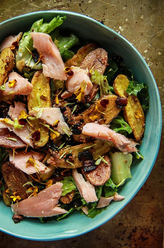 Warm Fingerling Potatoes with Lardons, Greens and Smoked Trout. from @ ...
