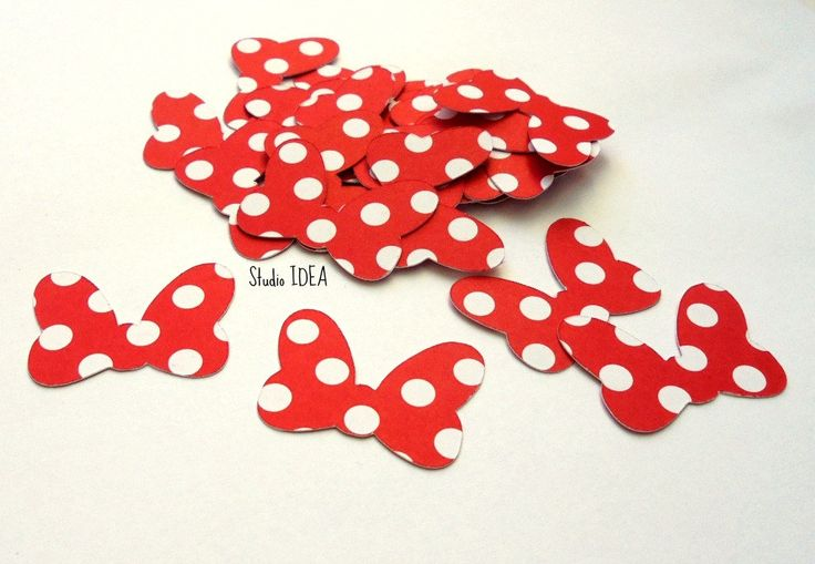 "2"" Minnie Inspired Bow Cut outs- polka dots Bow- Double sided Minnie Bow, Set of 30pcs, 60pcs, 120pcs by StudioIdea on Etsy"